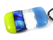 Handmade Dichroic Glass Pendant - Clear & Blue Dichroic Glass with Lime Green 4cm x 2cm - Includes Gift Box