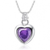 Rhodium Plated Purple CZ Heart Shape Pendant Necklace Including Singapore Chain '120cm