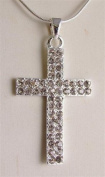 Ladies Fashion Necklace 4.5 cm diamante cross pendant