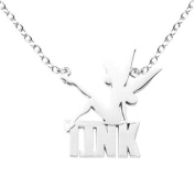 Disney Silver Tone Tinkerbell Silhouette on Tink Word Pendant Necklace