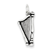 Sterling Silver Antiqued Harp Charm - JewelryWeb