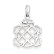 Sterling Silver Polished Turtle Pendant - JewelryWeb