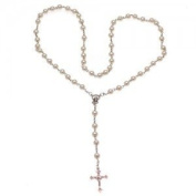Rosarian White Pearl Rosary Necklace