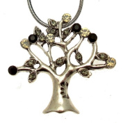 Acosta - Jet, Black Diamond & Opal Crystal - Vintage Style Tree of Life Necklace - Costume Jewellery - Gift Boxed