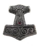 Viking Pagan Pewter Skane Hammer Mjolnir Pendant - Red