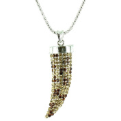 Brown on Silver Plated Small Leopard Print Bling Claw Tusk Horn Necklace
