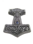 Viking Pagan Pewter Skane Hammer Mjolnir Pendant - Blue