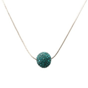 Bedazzled Turquoise Crystal Studded Shamballa Bead Silver Coloured Chain Necklace - Gift Boxed