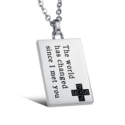 """JBG Jewellery Fashion Stainless Steel Necklace Inlaid Crystal Personalised Square Card """"The World Has Changed Since I Met You"""" Pendant Chain Necklet For Men With Jewellery Box"""