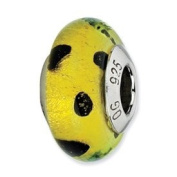Sterling Silver Reflections Lime Green With Blk Dots Italian Murano Bead Charm - JewelryWeb