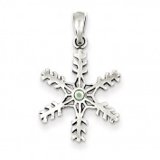 Sterling Silver Antique Snowflake Light Green Stone Pendant - JewelryWeb