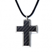 Stainless Steel Mens Cross Pendant Necklace with Carbon Fibre Inlay and 60cm Black Adjustable Cord