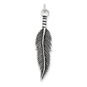 Sterling Silver Antiqued Feather Pendant - JewelryWeb