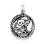 Sterling Silver Antiqued Panda Bear Charm - JewelryWeb