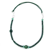 Jewellery Necklace green turquoise silky jewellery rings chrome length 90cm