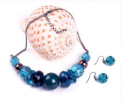 Turquoise Coloured Chunky Beaded Black Plated Necklace & Drop Earring Set