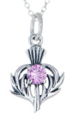 STERLING SILVER THISTLE BIRTHSTONE PENDANT NECKLACE JEWELLERY OCTOBER