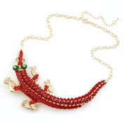 Red Diamante Epoxy Gecko Lizard Necklace Encrusted in Gold Plated
