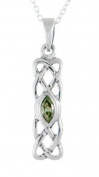 STERLING SILVER CELTIC BIRTHSTONE PENDANT JEWELLERY AUGUST 20 MM BY 6MM WITH 18 INCH CHAIN COMES WITH QUALITY GIFT BOX