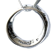 Great Holiday Gift Open Circle Charm Sterling Silver Necklace
