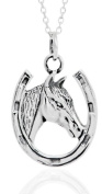 Toucan of Scotland Sterling Silver Horseshoe Necklace with Horse Head - 20mm x 11mm with 18 inch curb chain and supplied in our quality gift box.