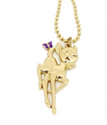 Disney Gold Tone & Crystal Bambi Deer Pendant Necklace
