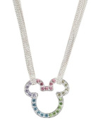 Disney Silver Tone & Multi Crystal Mickey Mouse Pendant Necklace