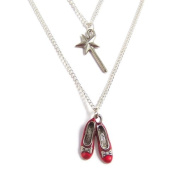 Wizard of Oz charm necklace - Ruby Red Slippers and the Good Witch's magical wand