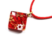 Genuine Murano Glass Pendant with Millefiori Highlight - Beautiful in Red & Gold, 2cm x 2cm with 'Murano Glass' print on rear - Includes Gift Box