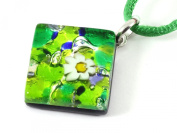 Genuine Murano Glass Pendant with Millefiori Flower Highlight - Beautiful in Green on Silver Leaf, 2cm x 2cm with 'Murano Glass' print on rear - Includes Gift Box