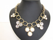 Stunning Chunky Cream Pearls & Crystals Stones Gold Chain Style Necklace