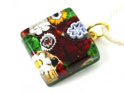 Murano Glass Pendant with Millefiori Flowers on Gold Leaf - 2cm x 2cm with 'Murano Glass' print on rear - Includes Gift Box