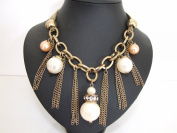 Stunning Chunky Gold Diamante Ring,Cream & Peach Pearl Chains Necklace