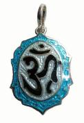 Handpainted Om Enamel Pendant from Rural Artisans in India