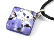 Murano Glass Pendant with Millefiori Flower Highlight - Purple on Silver Leaf, 2cm x 2cm with 'Murano Glass' print on rear - Includes Gift Box