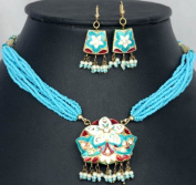 Turquoise Star-Spangled Necklace and Earrings with Peacocks on Reverse - Lacquer with Cut Glass