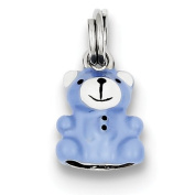 Sterling Silver Blue and Enamel Teddy Bear Charm - JewelryWeb