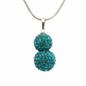 Bedazzled Double Turquoise Crystal Studded Shamballa Bead Silver Coloured Chain Necklace - Gift Boxed