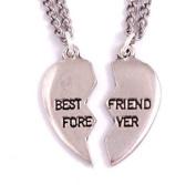 Broken heart best friend forever pendants 46cm curb chains