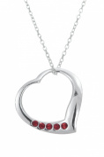 Toucan of Scotland Sterling Silver Open July Birthstone Heart Pendant - 18mm x 18mm with 18 inch curb chain and supplied in our quality gift box.