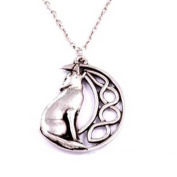 Howling wolf with moon pendant on 46cm trace chain