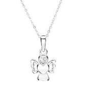 Jo For Girls Sterling Silver April Birthstone Angel Crystal Pendant