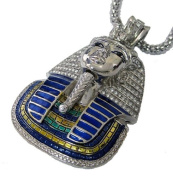 Iced out Tutankhamun Egyptian Colour Pendant hiphop bling chain