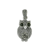 TOC Sterling Silver Marcasite Crystal Owl Pendant on 46cm Chain