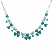 Bedazzled Turquoise Enamel Hearts Necklace with Crystal Stones - Gift Boxed