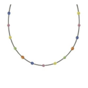 Sterling Silver .925 Multi Colour Pastel Glass Cats Eye Stone Bar and Bead Necklace