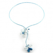 MGD, Light Blue Tourmaline and Turquoise Necklace, Beautiful Handmade Flower and Butterfly Y Choker Necklace, Fashion Jewellery for Women, Teens and Girls, JA-0095N