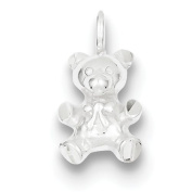 Sterling Silver Teddy Bear Charm - JewelryWeb