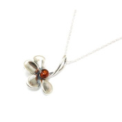 The Olivia Collection Sterling Silver Half Flower Amber Pendant