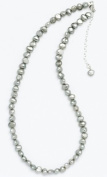 Silver & Pearl - Silver Dyed Freshwater Pearl 41Cm Necklace With Sterling Silver Clasp And 5Cm Extension Chain